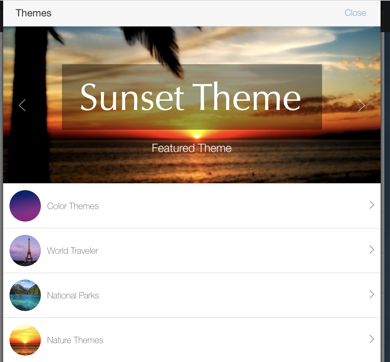 Image of themes area